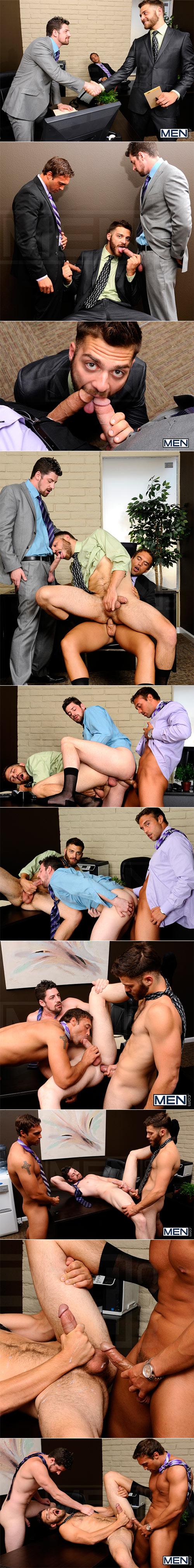 """Men.com: Rocco Reed, Andrew Stark and Tommy Defendi's hot threeway in """"The Promotion"""""""