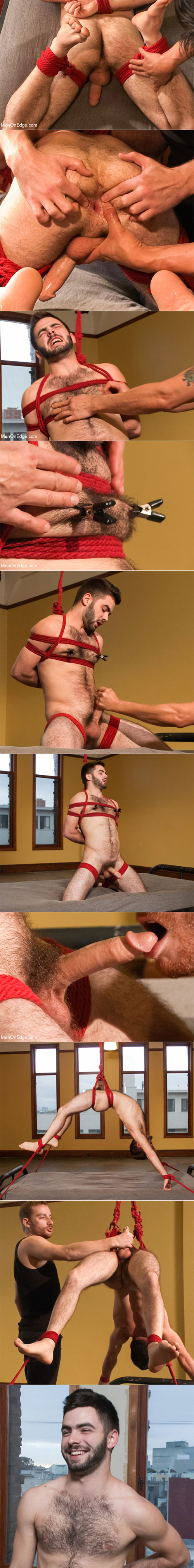MenOnEdge: Hairy stud Josh Long tied up and edged for the first time